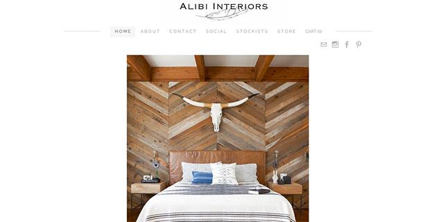 Alibi Interiors homepage