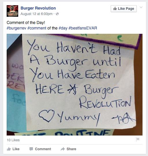 Burger Revolution Facebook Post