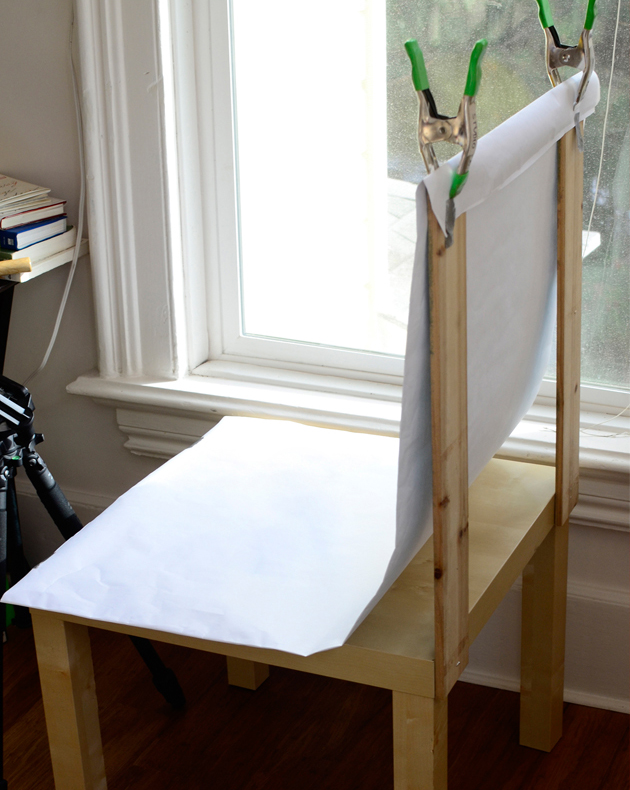 Paper over chair for white backdrop