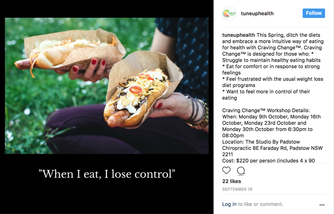 Tune Up Health Instagram post showing healthy food